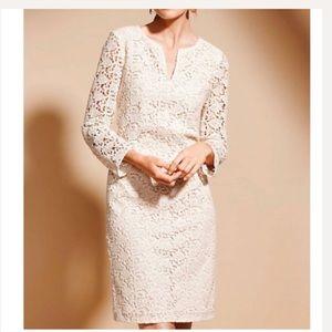 Talbots cream lace dress